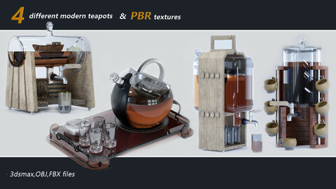 4 different modern teapots + pbr texture