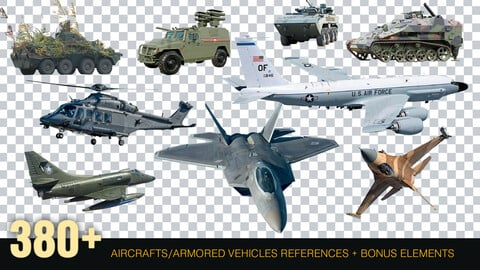 380 + Military Aircraft And Armored Vehicles Reference pack [Cutouts] PNG
