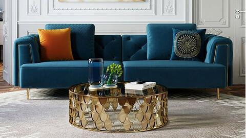 Prague luxury velvet sofa for 4 people 3colors