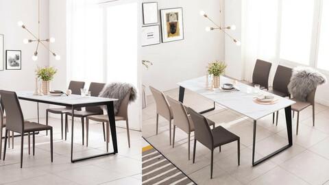 Arnold White Porcelain Ceramic 6 Seater Dining Table Set 1800