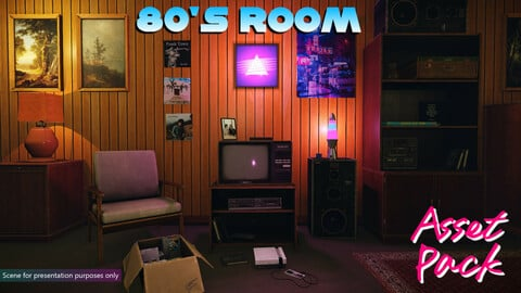 Low-Poly 80s Room Pack