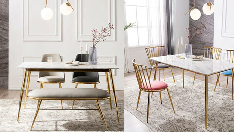Modigliani Marble Gold 4-person dining table (additional chair/bench)
