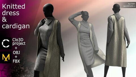 Clo3D project, Marvelous Designer. Knitted dress with cardigan