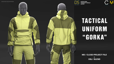 "Tactical uniform ""Gorka"". MD/Clo3d project + OBJ + .BLEND file"