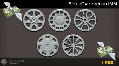 🚗 [Free] 💸 5  HubCap Zbrush IMM 🔧