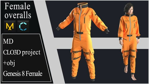 Female Overalls. Clo 3D / Marvelous Designer project +obj