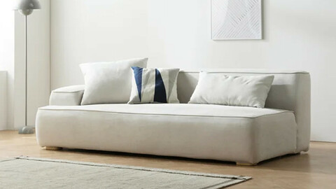 Lumo 3-seat style clean washable fabric sofa 2type