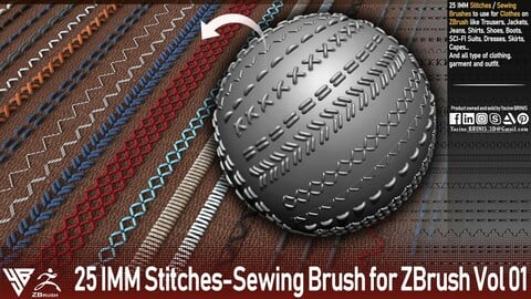 25 IMM Stitches - Sewing Brush for Zbrush Vol 01
