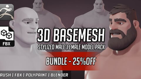 Basemesh Stylized LEONIDAS Muscle|Fat Pack (BUNDLE -25% OFF)