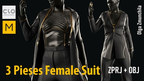 Three pieses female suit / jacket with shoulder pads, top, classic trousers/ Clo3d, MD projects +OBJ +FBX