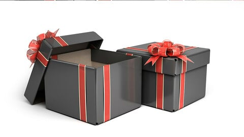 Black Gift Box with red ribbon