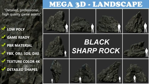Low poly Black Sharp Rock 210226