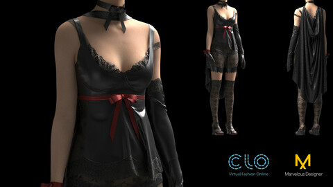 Womens clothing. Marvelous Designer, Clo3d project + OBJ/FBX files. Standart avatar MD&CLO. (A-pose+Render-pose)