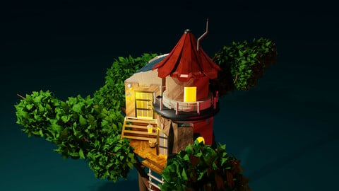 Tree house modeling in Blender