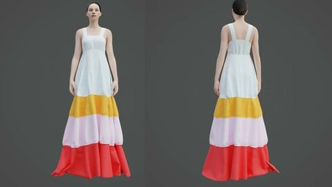 Female Tiered Maxi dress - 3D colorblock dress