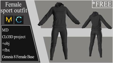 Female Sport Outfit. Clo 3D / Marvelous Designer project +obj +fbx