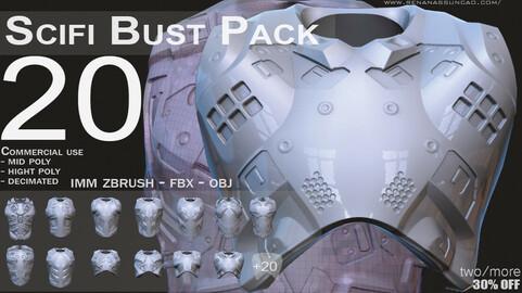 IMM 20 Scifi Busts KitBash with Uvs - Plus LP+HP) .obj/.fbx