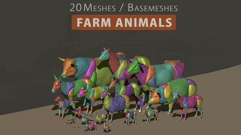 3D Animal Basemesh - Farm Pack