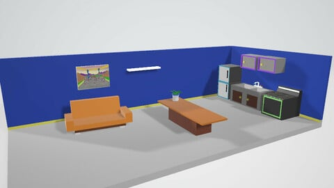 How Noobs get by 3D living Room kitchen