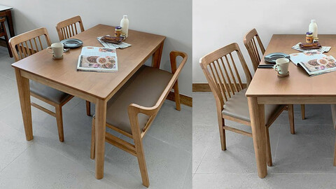 Legend solid wood dining table set for 4 people bench type 1300 (2 chairs + 1 bench)