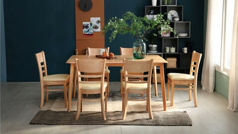 Pure rubberwood solid wood 4-person table set (2 chairs + bench) 3colors