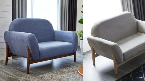 Tea tree solid wood aqua suede 2-seater sofa 3colors