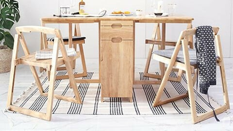 Solid wood extended multi table set