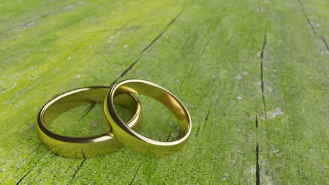 Weeding ring on moss wood