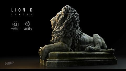 Lion D Statue PBR 4K