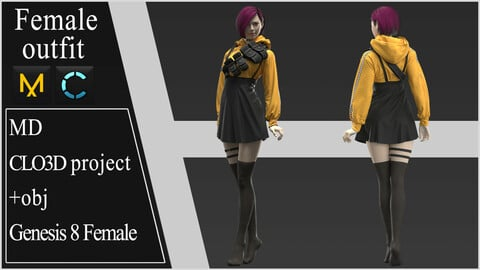 Female Modern Outfit. Clo 3D / Marvelous Designer project +obj