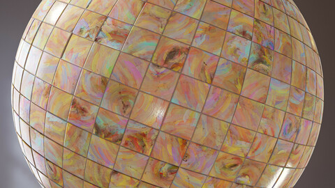 PBR - FIRED ARTISTIC MOSAIC TILES FOR BATHROOM OR KITCHEN - 4K MATERIAL