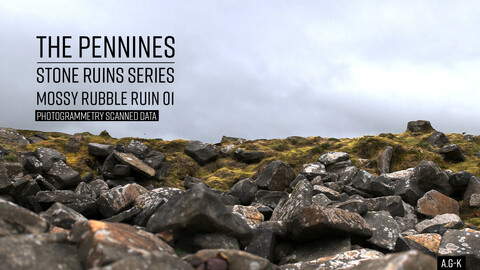Mossy Stone Rubble Ruin 01