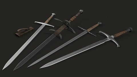 🟥 4 Lowpoly Modular Two-Handed Swords [19 Parts]