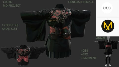 GENESIS 8 FEMALE CYBERPUNK ASIAN SUIT: CLO3D, MARVELOUS DESIGNER PROJECT+GARMENT| +OBJ +FBX