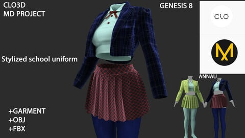 GENESIS 8 FEMALE: Stylized school uniform: CLO3D, MARVELOUS DESIGNER PROJECT+GARMENT| +OBJ +FBX