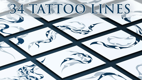 34 Tattoo Lines (SVG and more)