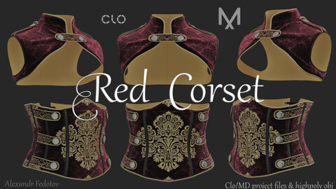 Red Corset. Clo/MD project file + highpoly obj