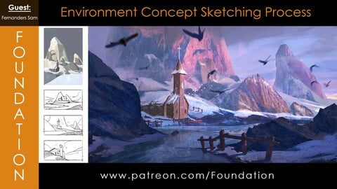 Foundation Art Group - Environment Concept Sketching Process with Fernanders Sam