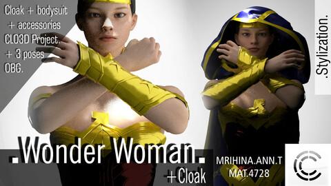 .Wonder Woman. CLO3D + MD. 3 OBJ  +  3 animations.