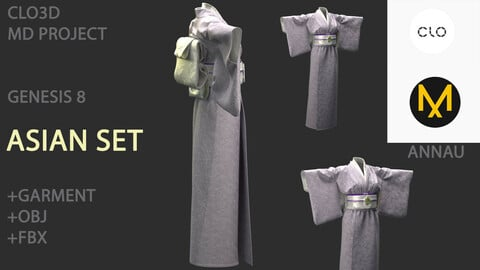 GENESIS 8 FEMALE: ASIAN KIMONO SET: CLO3D, MARVELOUS DESIGNER PROJECT+ GARMENT| +OBJ +FBX