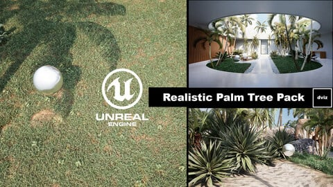 Realistic PALM TREE GRASS PLANTS