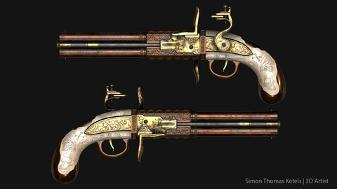Double Barrel Flintlock Pistol (Game Ready)