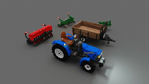 Voxel Agricultural machinery pack 3D models
