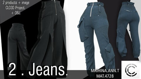 2. Jeans. CLO3D + MD.  2 OBJ.