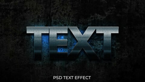 3D Glowing Cool Grunge Blue PSD Text Effect