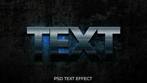 3D Glowing Cool Grunge Blue PSD Text Effect