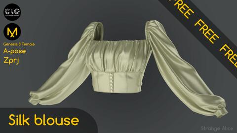 Free silk blouse. Clo3d, Marvelous Designer project.