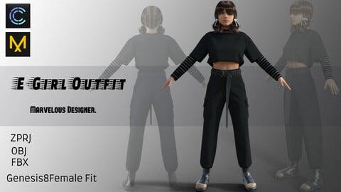 E-Girl Outfit - Marvelous Designer & CLO3d projects - ZPRJ+OBJ+FBX