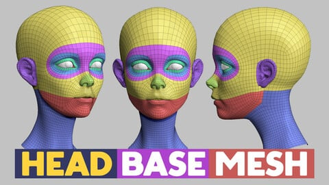Head base mesh topology and UV map