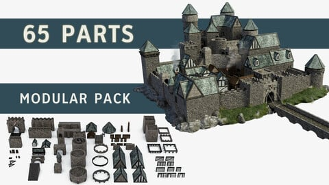 Medieval Castle Keep Modular game Kitbash Pack 2